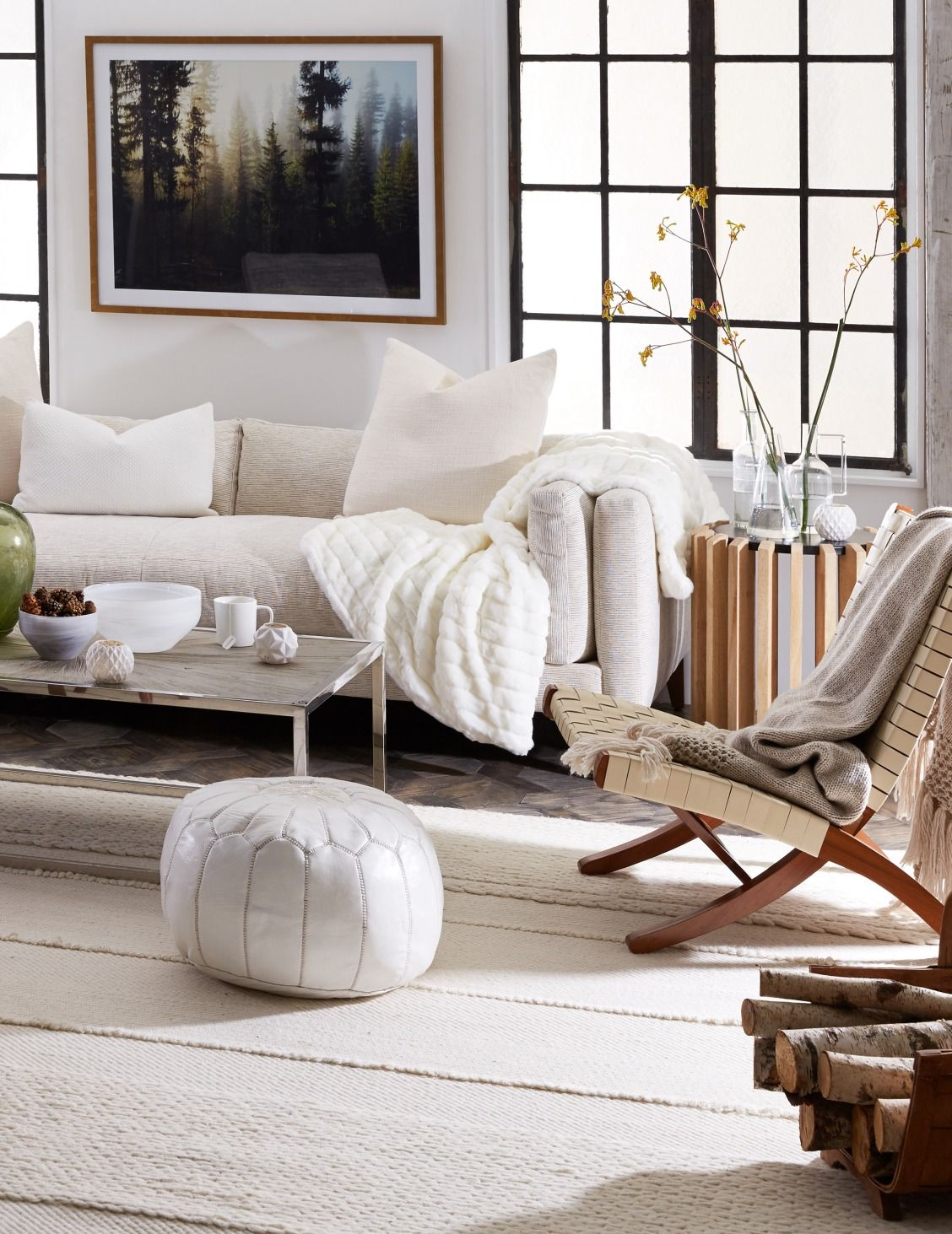 Minimalist and cozy with luxe all white layers and for Cozy minimalist living room