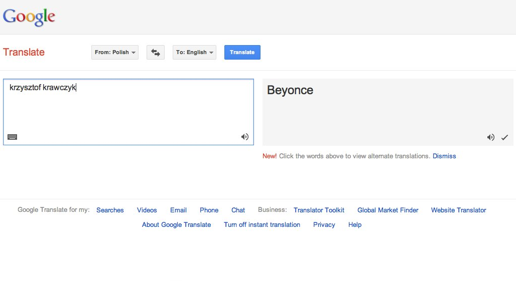 Google Translate Win Krzysztof Krawczyk Beyonce Obv Search Video Google Translate Words