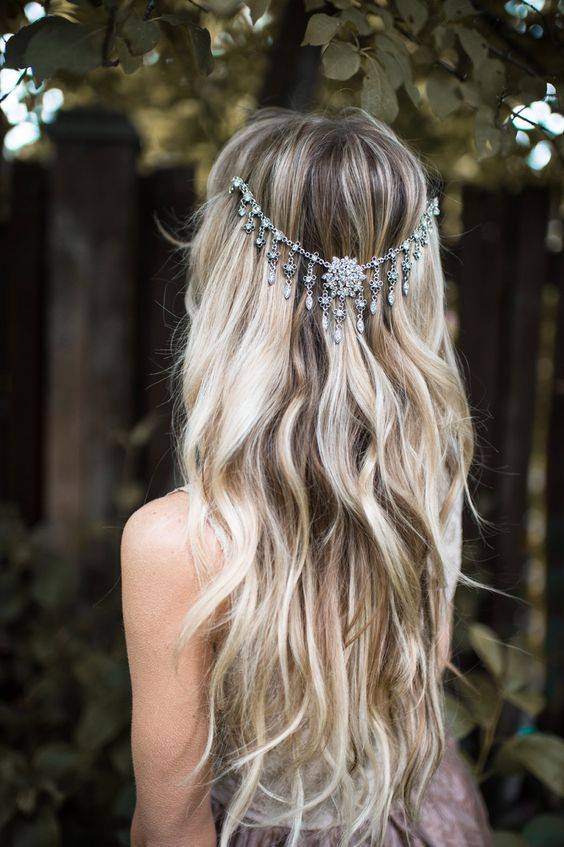 boho chic wavy wedding hairstyle with silver jewel draped headpiece featured hairpiece lottie da designs