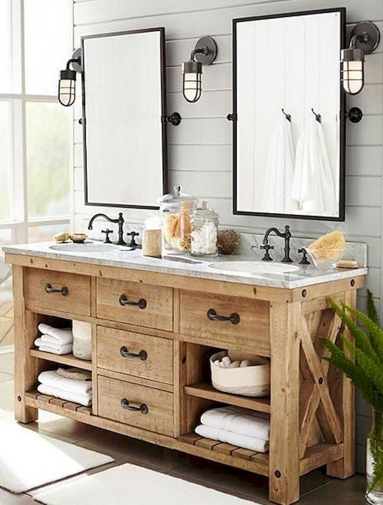 85 Astonishing Farmhouse Bathroom Remodel Decor Ideas Small Bathroom Vanities Rustic Bathroom Vanities Diy Bathroom Vanity