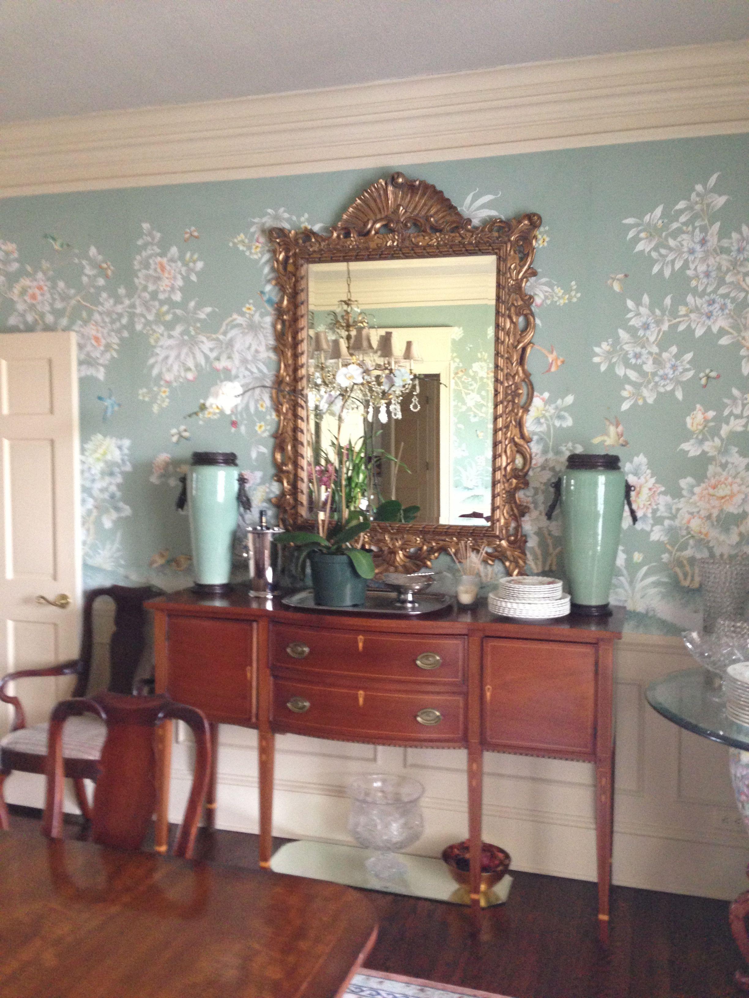 buffet table with mirror above   Buffet decor, Home decor, Decor