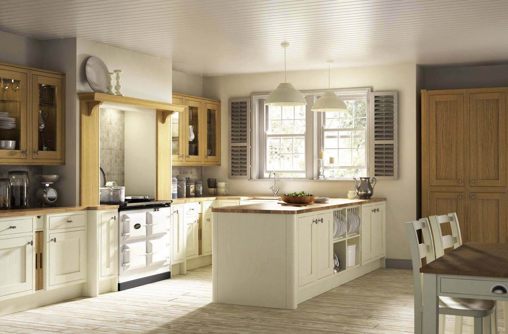 New england kitchen contrasting between colour or oak colour