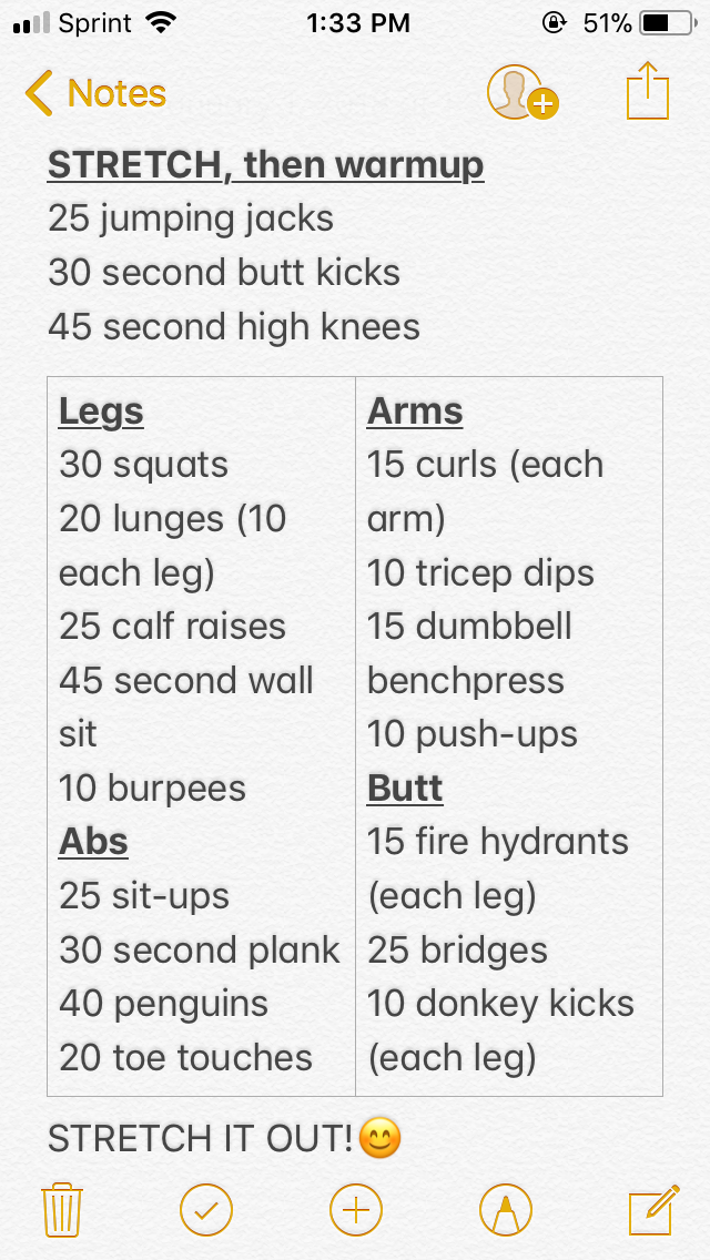 My basic, full-body workout!!! I made this myself, based on