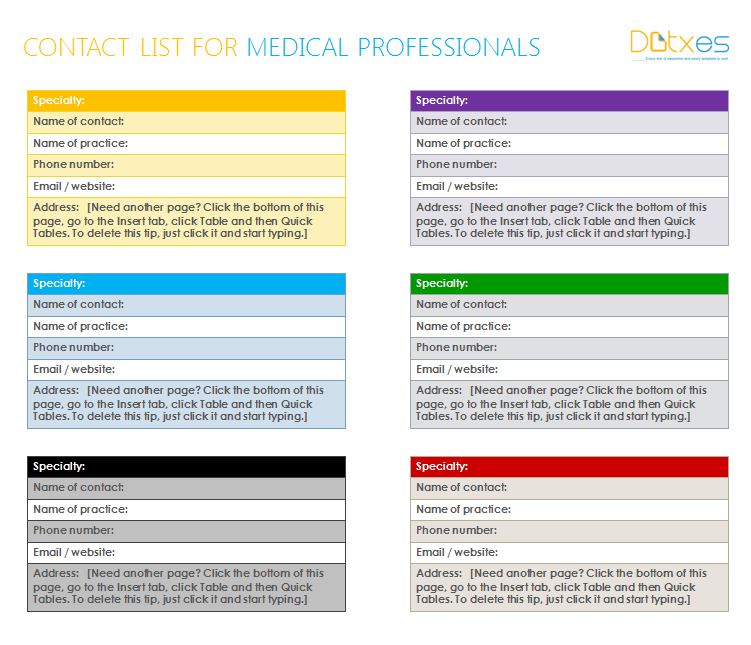 Medical Professionals contact list template in MS Word – Medical Templates for Word