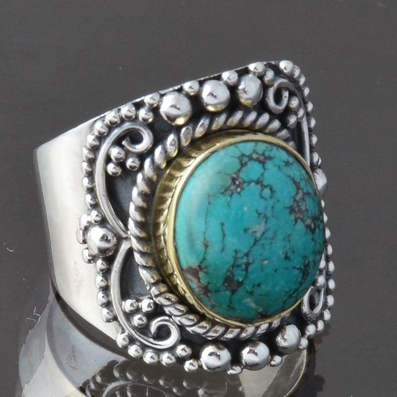 SOLID 925 STERLING SILVER DESIGNER Turquoise FANCY RING 6.63g DJR9285 SIZE-7 #Handmade #Ring