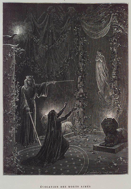 Évocation des Morts Aimés (Summoning of the Beloved Dead) by Paul Christian in Histoire de la magie (History of Magic), Paris, 1870. http://40.media.tumblr.com/9f5311a6e09e62c3626080fefda1f148/tumblr_nuebsckRv81s5syojo1_1280.jpg