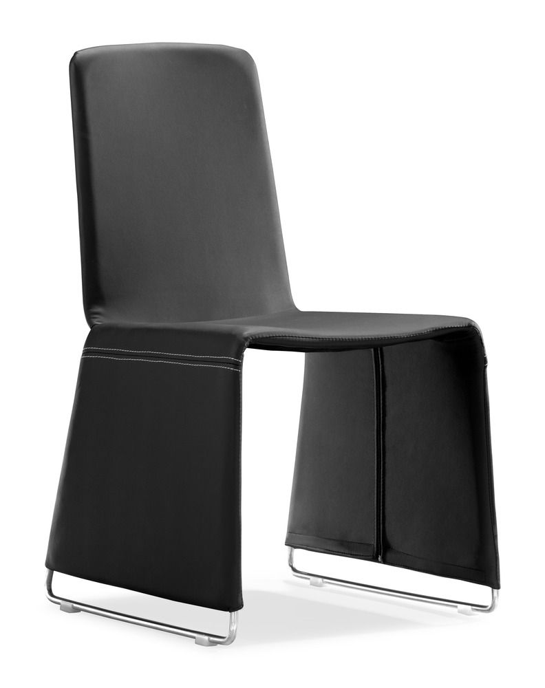 The Nova dining chair has a soft leatherette wrapped frame with chromed steel legs.