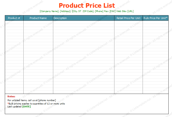 Download Price List Template In Excel  Download Free Templates