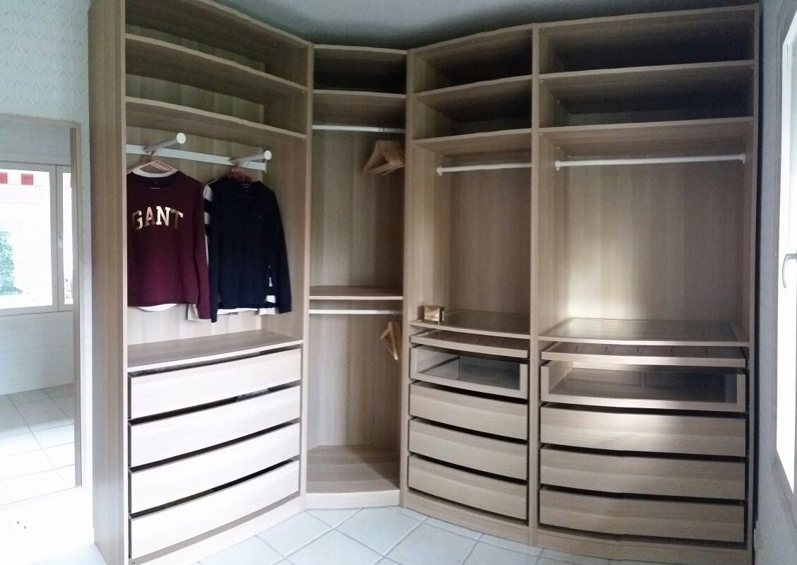 My Ikea Pax White Oak Walk In Closet (not The Best Panorama Pic