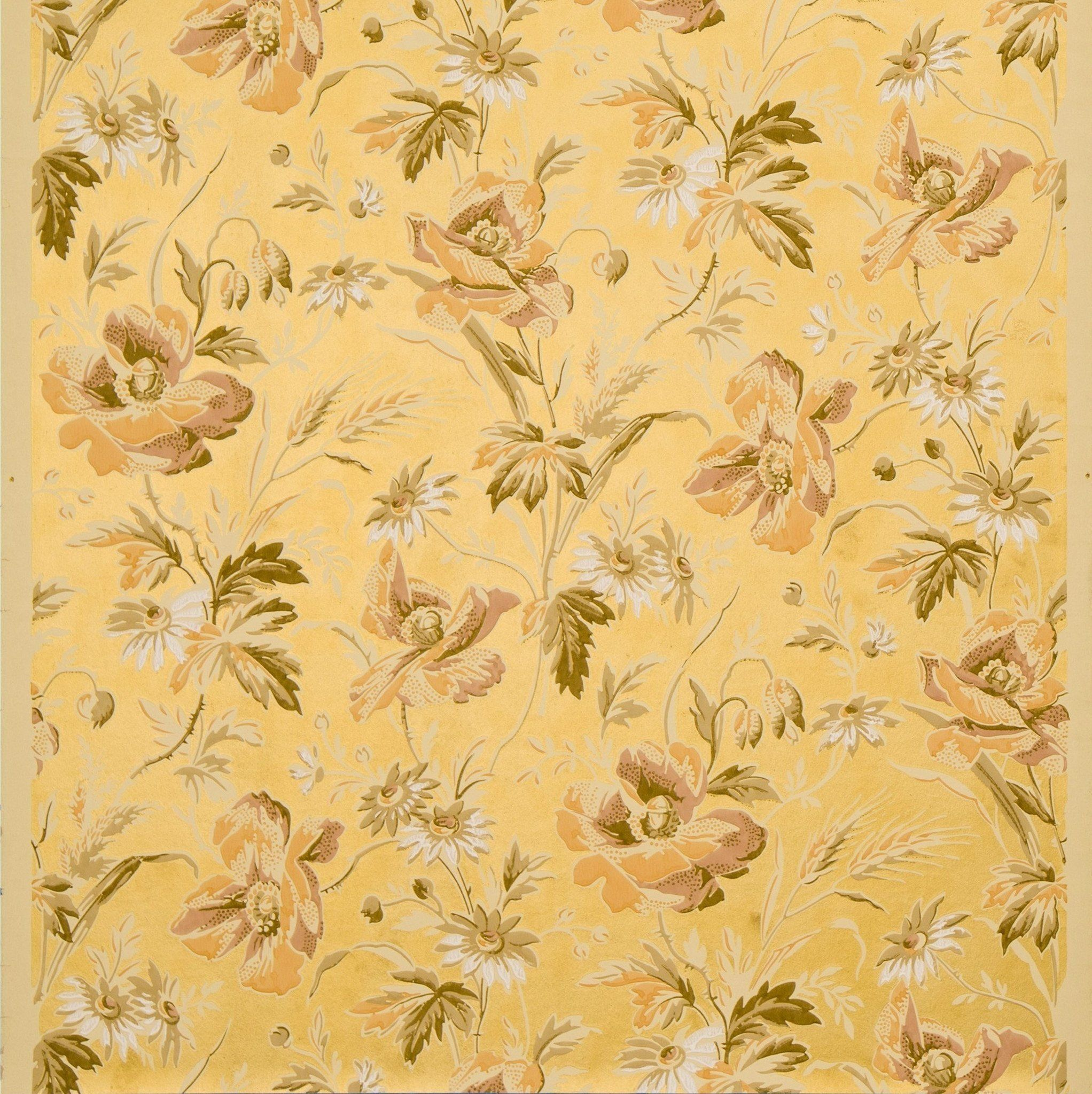 Poppies And Wheat On Gilt Background Antique Wallpaper Remnant Antique Wallpaper Victorian Wallpaper Wallpaper