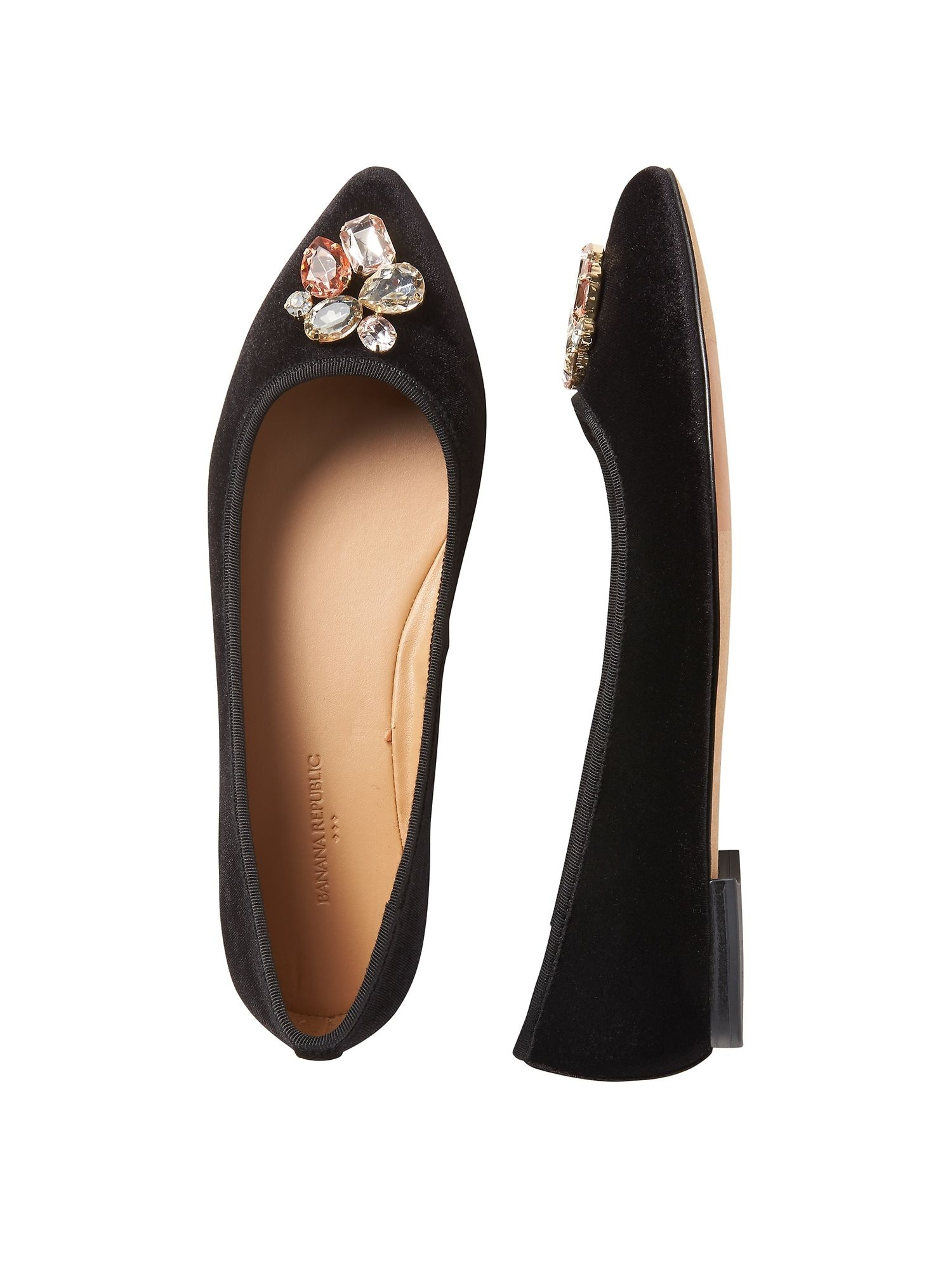 Pointed-Toe Jeweled Robin Ballet Flat