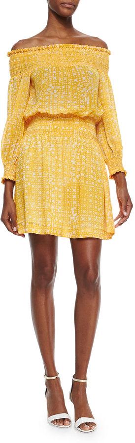 MICHAEL Michael Kors Mandera Printed Off-the-Shoulder Smock Dress
