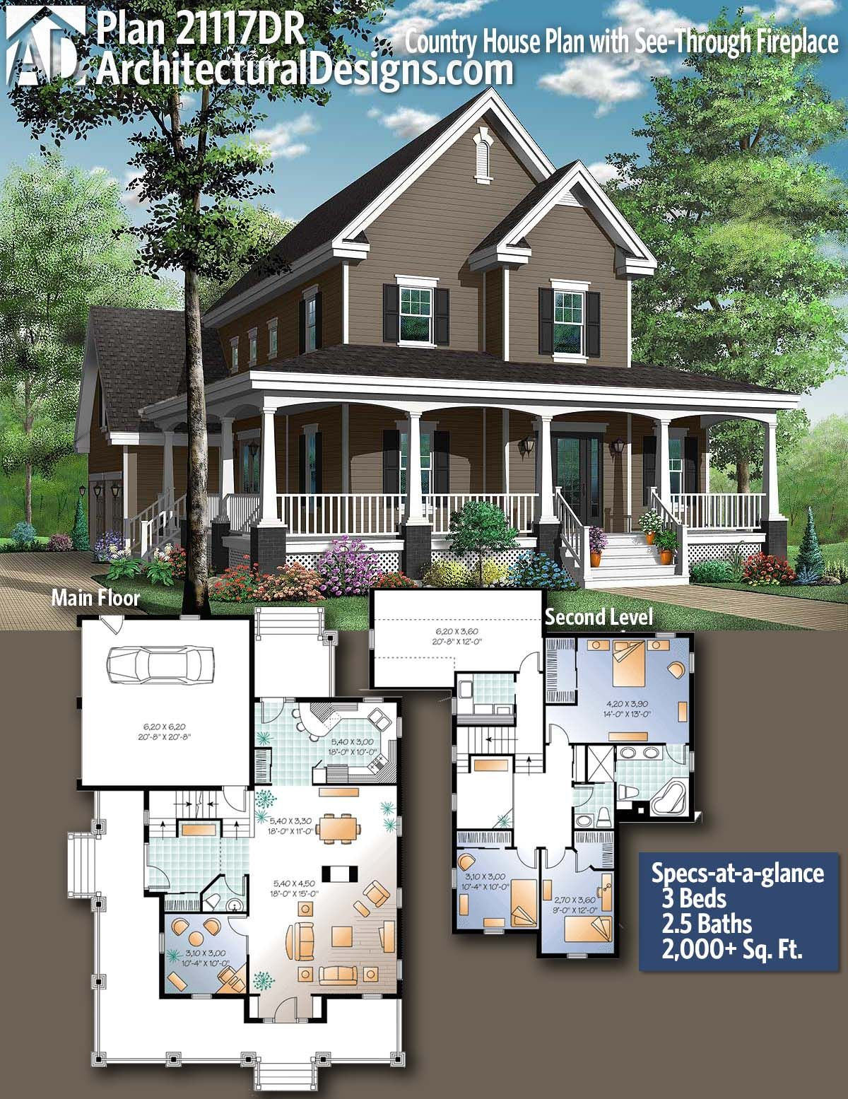 Plan 21117dr Country House Plan With See Through Fireplace House Plans Farmhouse Victorian House Plans Sims House Plans
