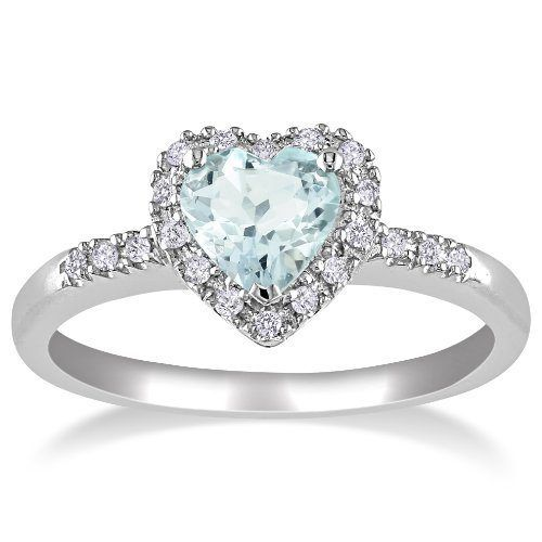 Sterling Silver Aquamarine and Diamond Heart Ring (0.1 cttw, G-H Color, I2-I3 Clarity), Size 6