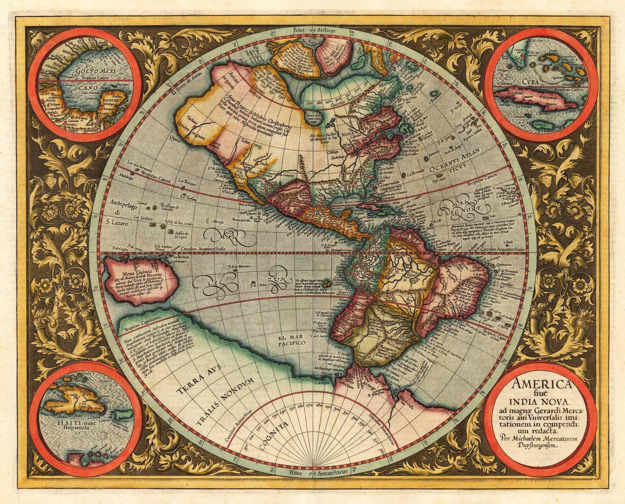1595 America or New India Gerard Mercator