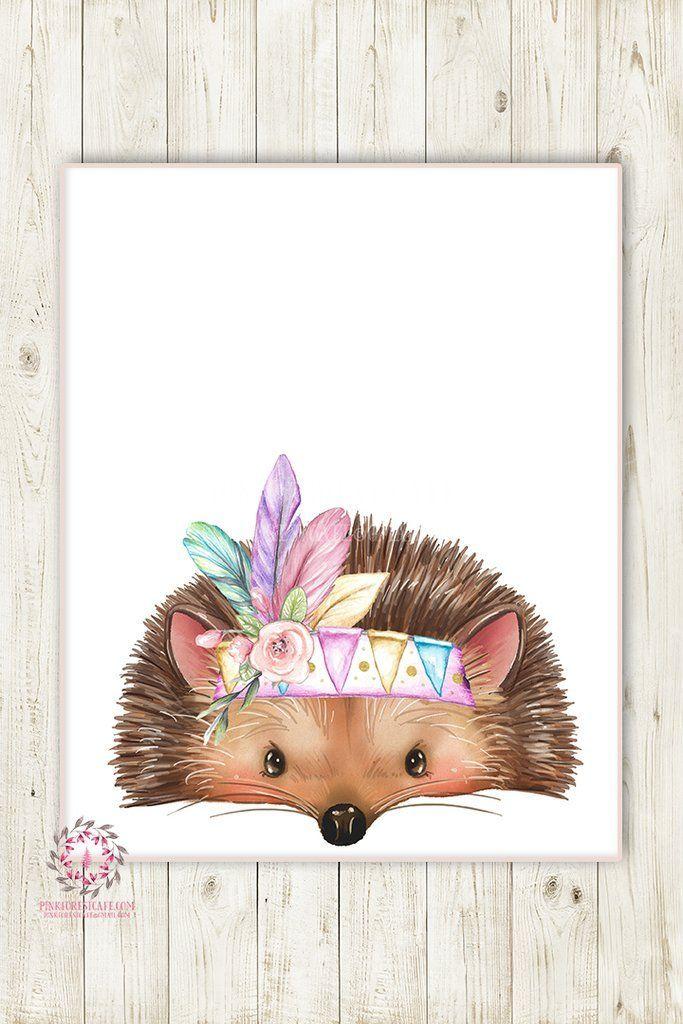 Photo of Boho Tribal Feather Hedgehog Woodland Druckbare Druck Wandkunst Kinderzimmer Baby Girl …