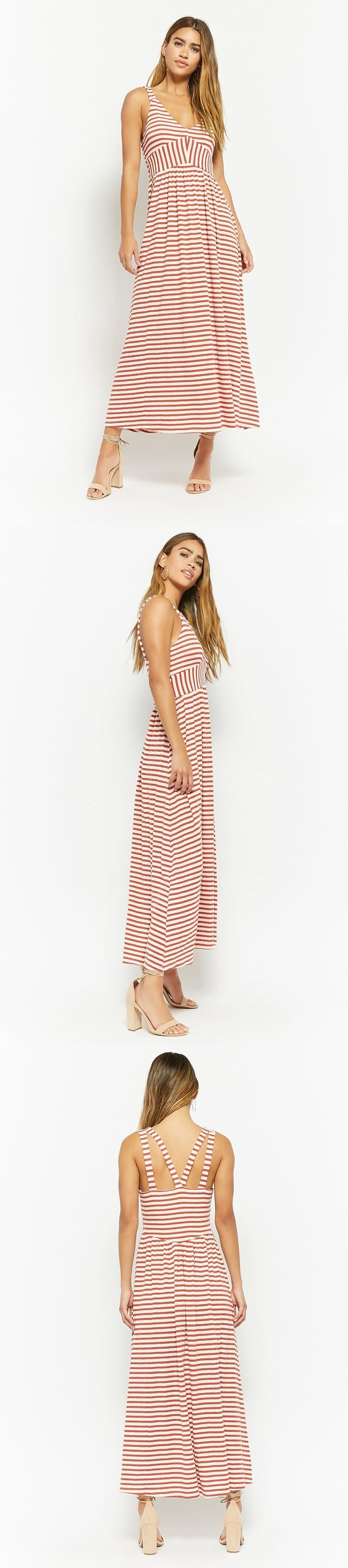 Anm ribbed striped maxi dress usd forever new