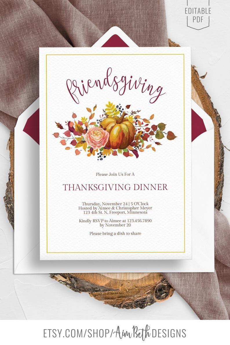 Friendsgiving Invitation Template Thanksgiving Dinner Etsy In 2020 Thanksgiving Invitation Template Editable Invitations Invitation Template