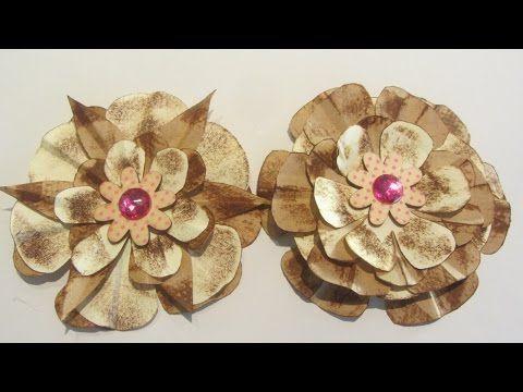 how to make paper bag flower embellishments craft tutorial youtube christmas pinterest paper bag flowers paper flower tutorial and tutorials