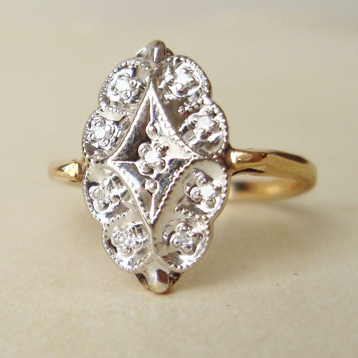 Vintage engagement ring art deco style k gold diamond ring