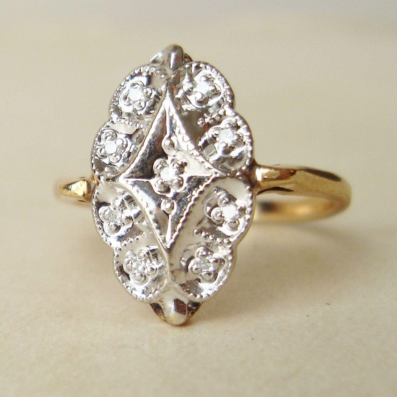 Vintage engagement ring art deco style k gold diamond ring
