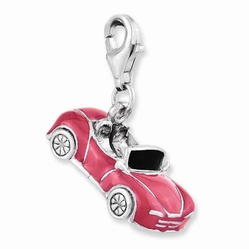 NEW AMORE LA VITA SOLID STERLING SILVER RHODIUM PLATED 3D ENAMEL CONVERTIBLE CAR #AmoreLaVita #European