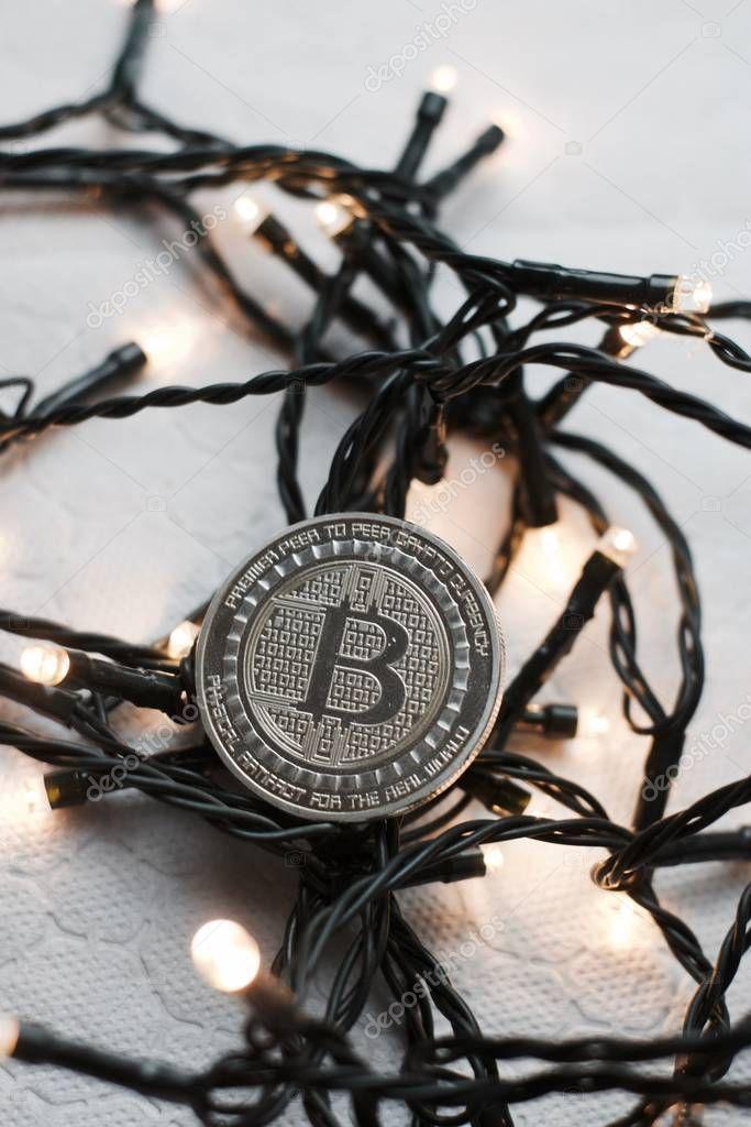 Crypto Currency Physical Bitcoin Coin Bitcoin Tokens Digital Money Concept
