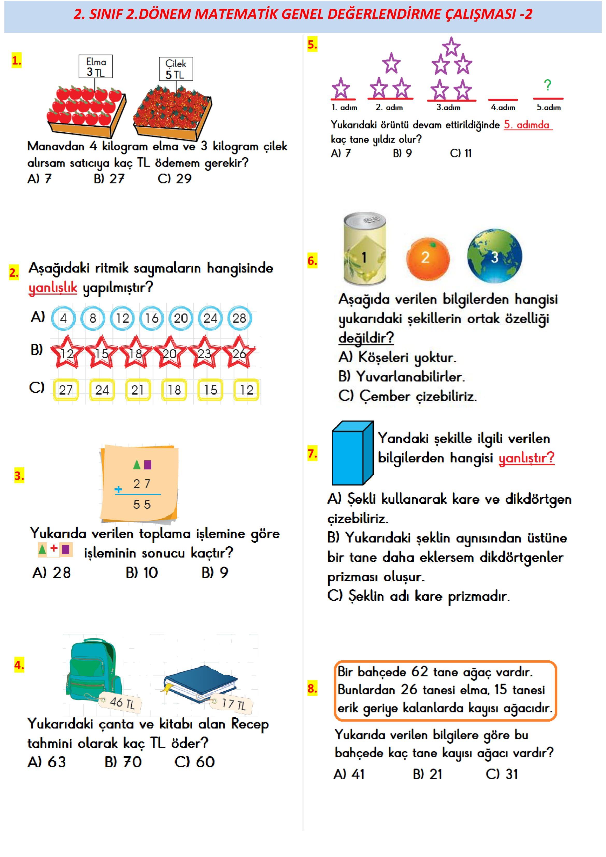 2 Sinif 2 Donem Deneme Sinavi Matematik Degerlendirme Sinif