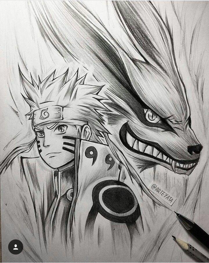 Naruto And Kurama With Images Naruto Sketch Naruto Drawings