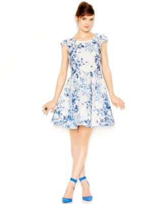Betsey Johnson Floral Print Lace Fit Flair Dress Wedding Guest