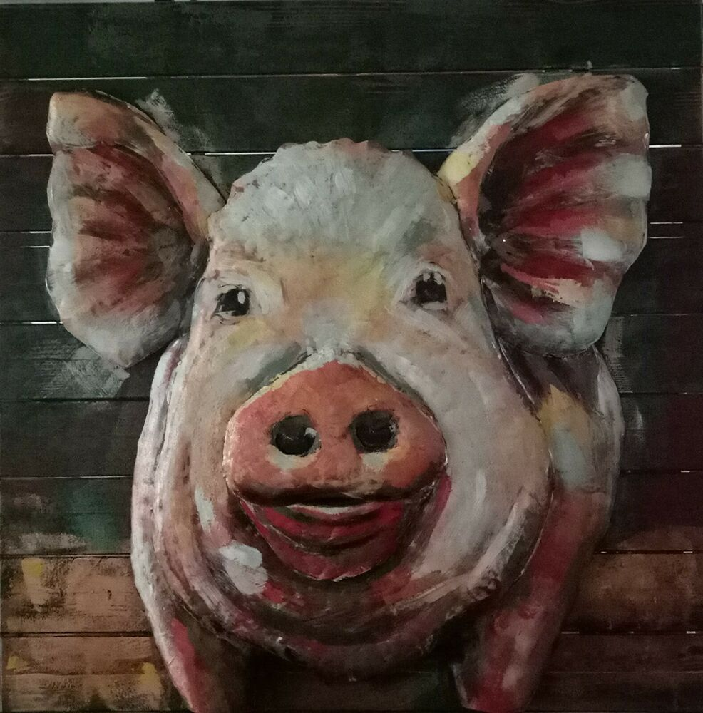 Adorable Pig Wall Decor Metal Art 3d Paintings Solid Metal Animals Home Deco Art Ebay Wall Sculpture Art Woodland Animal Wall Art Animal Wall Art