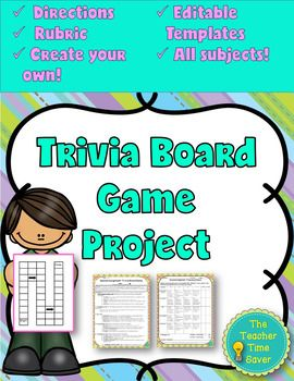 Challenge Your Students To Create Their Own Trivia Board Game To Review Concepts On Any Unit As A Review Projec Board Games Trivia Board Games Rubric Template