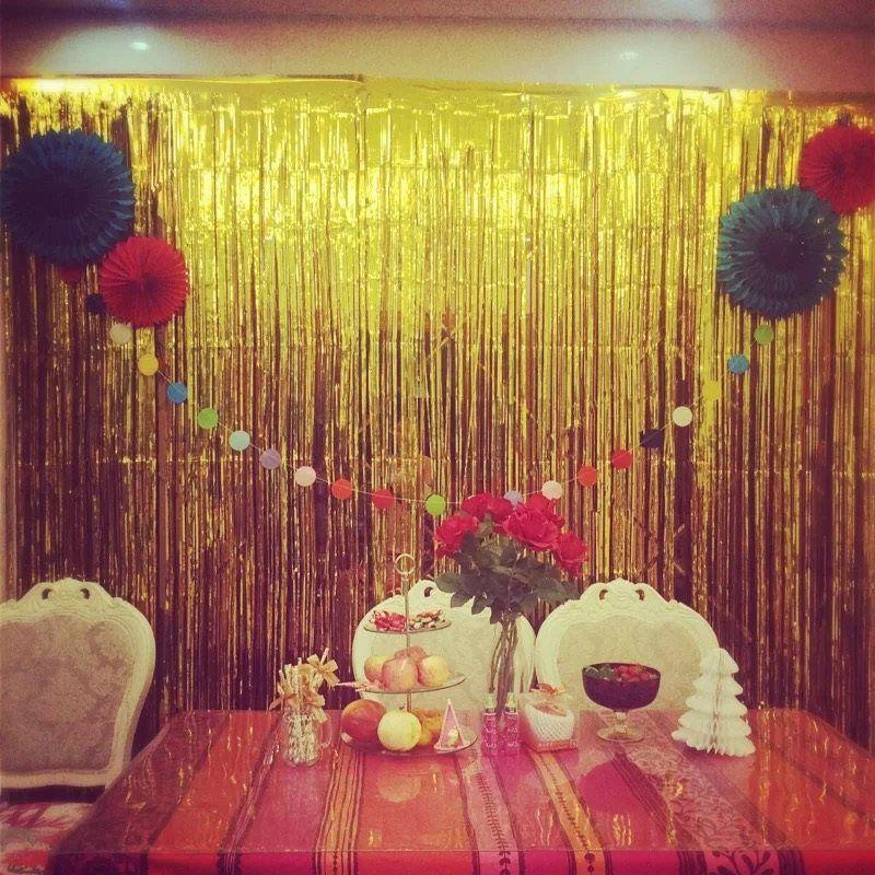 6 Colors Glitter Foil Tinsel Fringe Party Curtain Door Rain