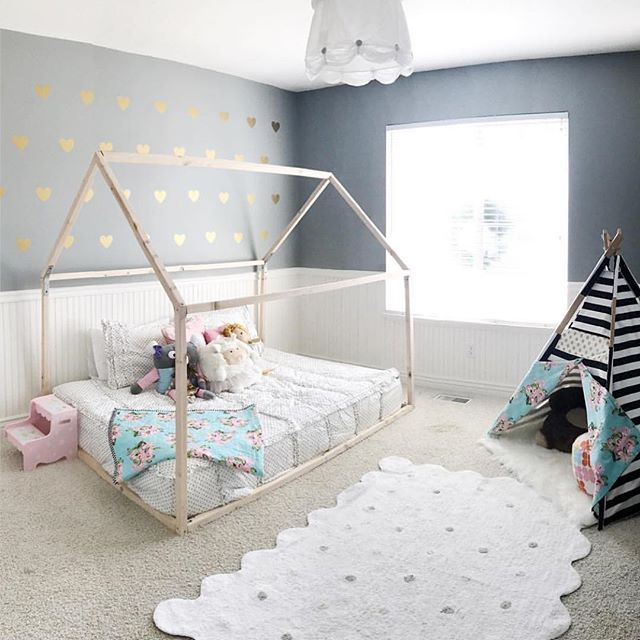 Our Cute Friend Courtney From Tnees Tpees Posted This Room A Couple Days Ago Isn T It Adorable The Best Part With Images Kid Beds House Frame Bed House Beds For Kids