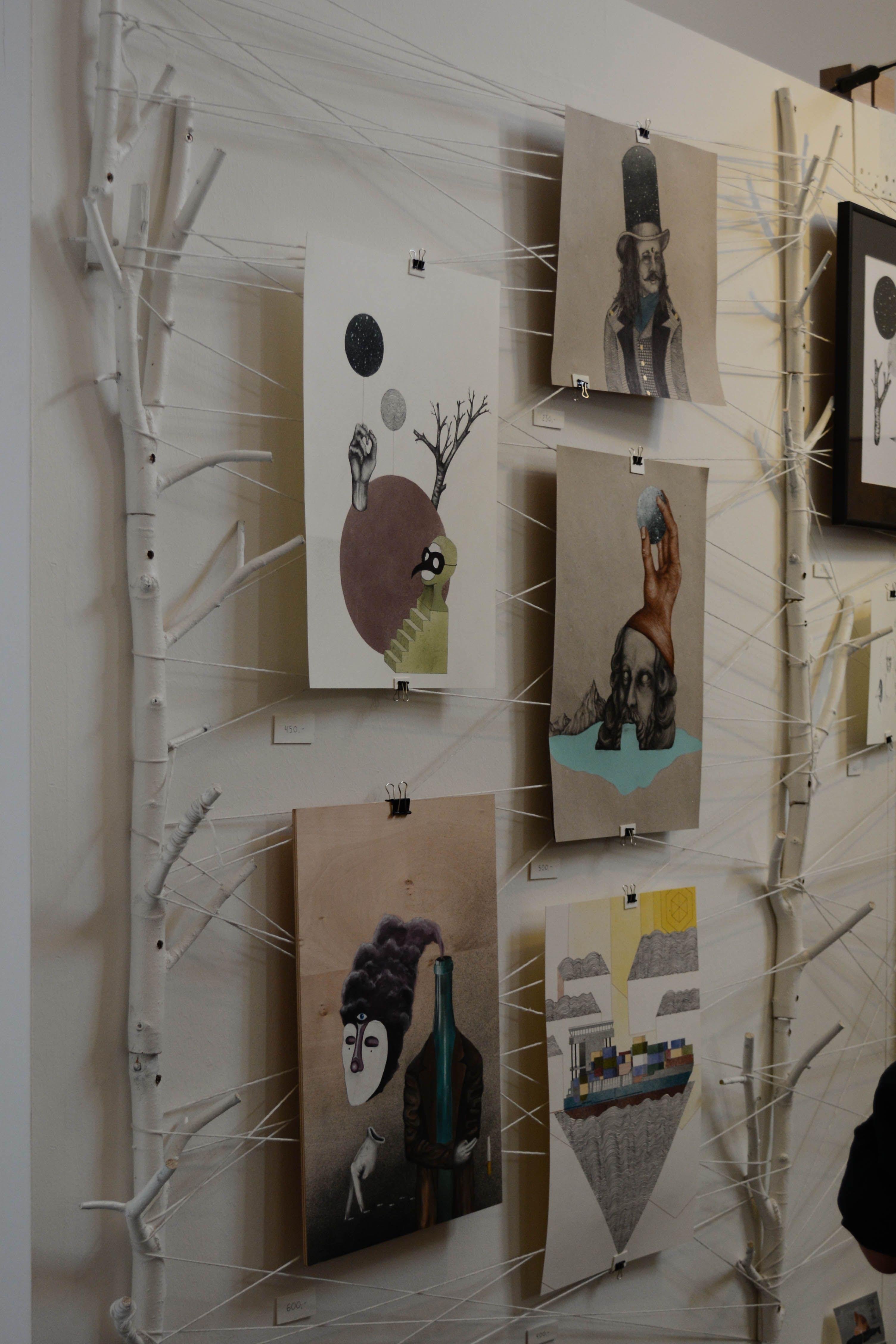 aufh ngung f r fotos bilder und postkarten mit zweigen und schn ren fotos. Black Bedroom Furniture Sets. Home Design Ideas