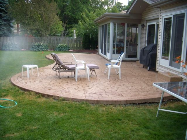 stamped concrete seamless roman slate stamp cut and stained with ... - Cement Patio Designs