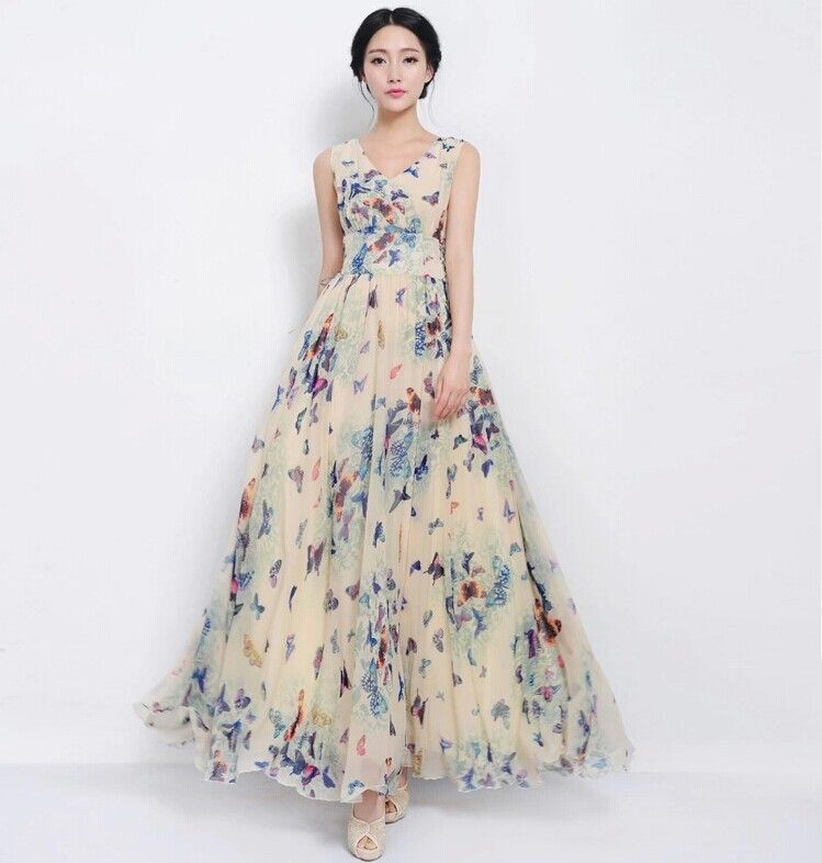Buy V-Neck Chiffon Maxi Dress | Sally Fashion Malaysia