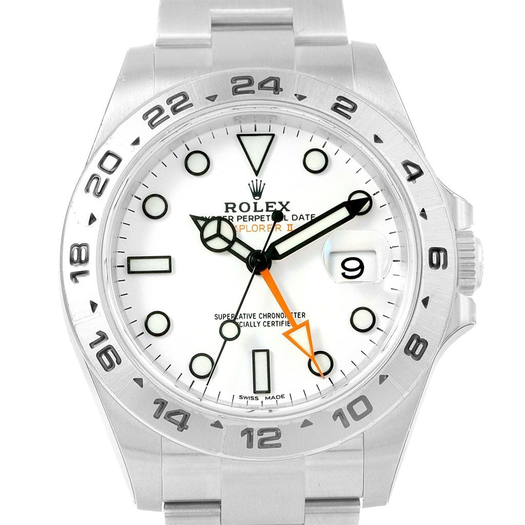 rolex explorer ii white dial automatic steel mens watch