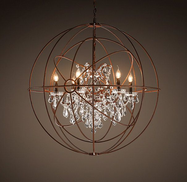 Foucault's Twin-Orb Crystal Chandelier - Rustic Iron, from RH ( restorationhardware). The gyroscope created by experimental physicist Léon  Foucault inspired ... - Foucault's Twin-Orb Crystal Chandelier Rustic Iron - Gotta Have A