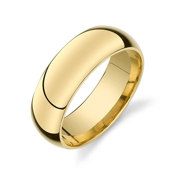 14k Yellow Gold Band 7mm PLAIN Polished Rounded Dome