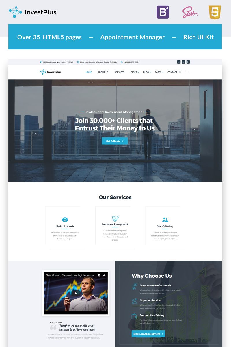 Investment Company Multipage Html5 Template Ad Company Template Multipage Investment Companies Business Website Design Templates Business Website Design