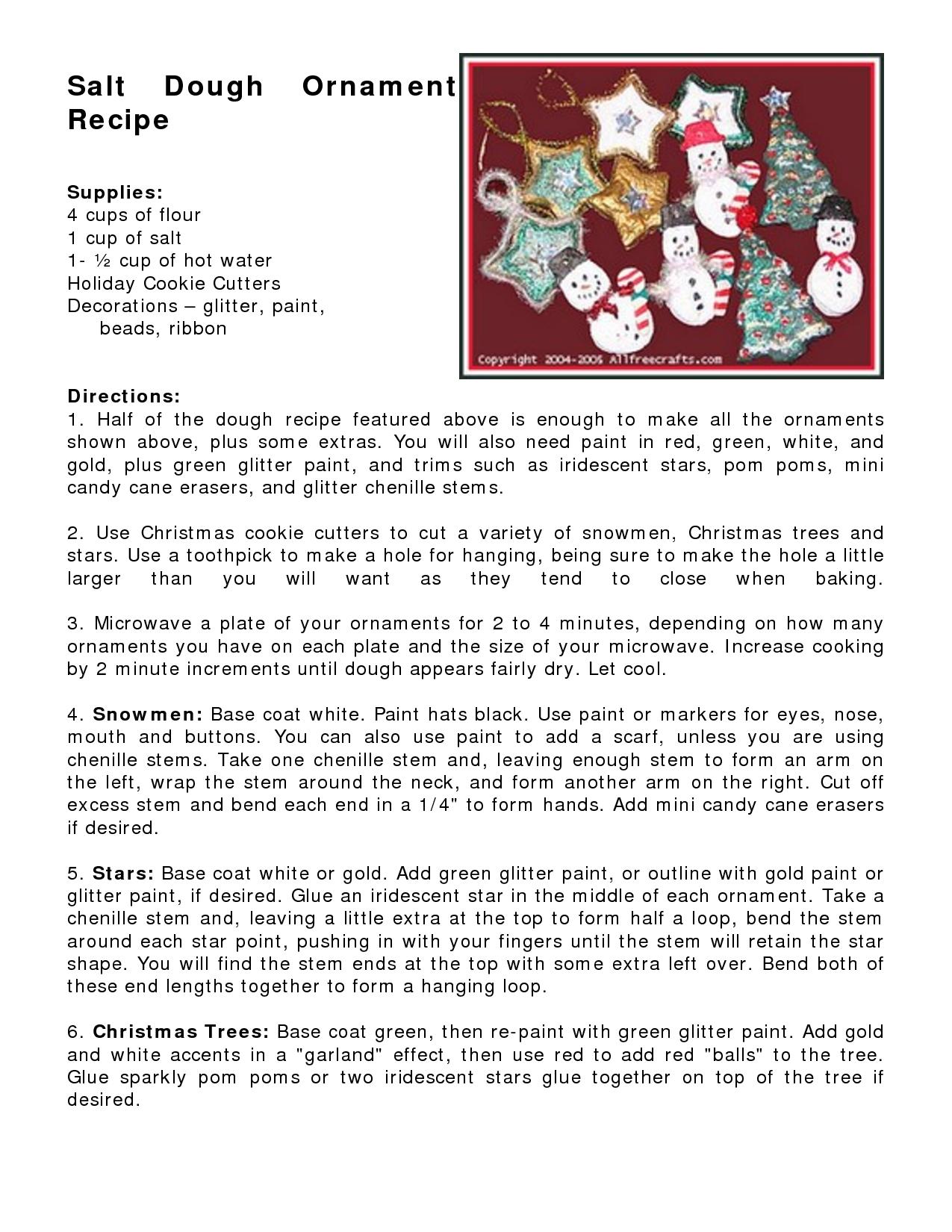 Salt Dough Ornament Recipe Food Ornaments Dough Ornaments Salt Dough Ornaments