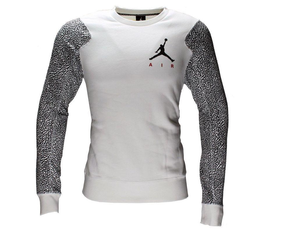 e2e30eed6bf Nike Air Jordan Elephant White/Black Mens Crew Sweatshirt [634489-100] Size  L #Jordan #SweatshirtCrew