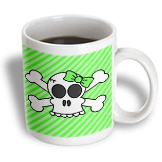 3dRose Cute Goth Punk Girl Skull with Bow and Crossbones Green Stripes Ceramic Mug, 11-Ounce  #skull #mugs #cups #design #travel