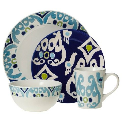 Rachael Ray 16 Piece Dinnerware Set - Blue, Dinnerware Sets ...