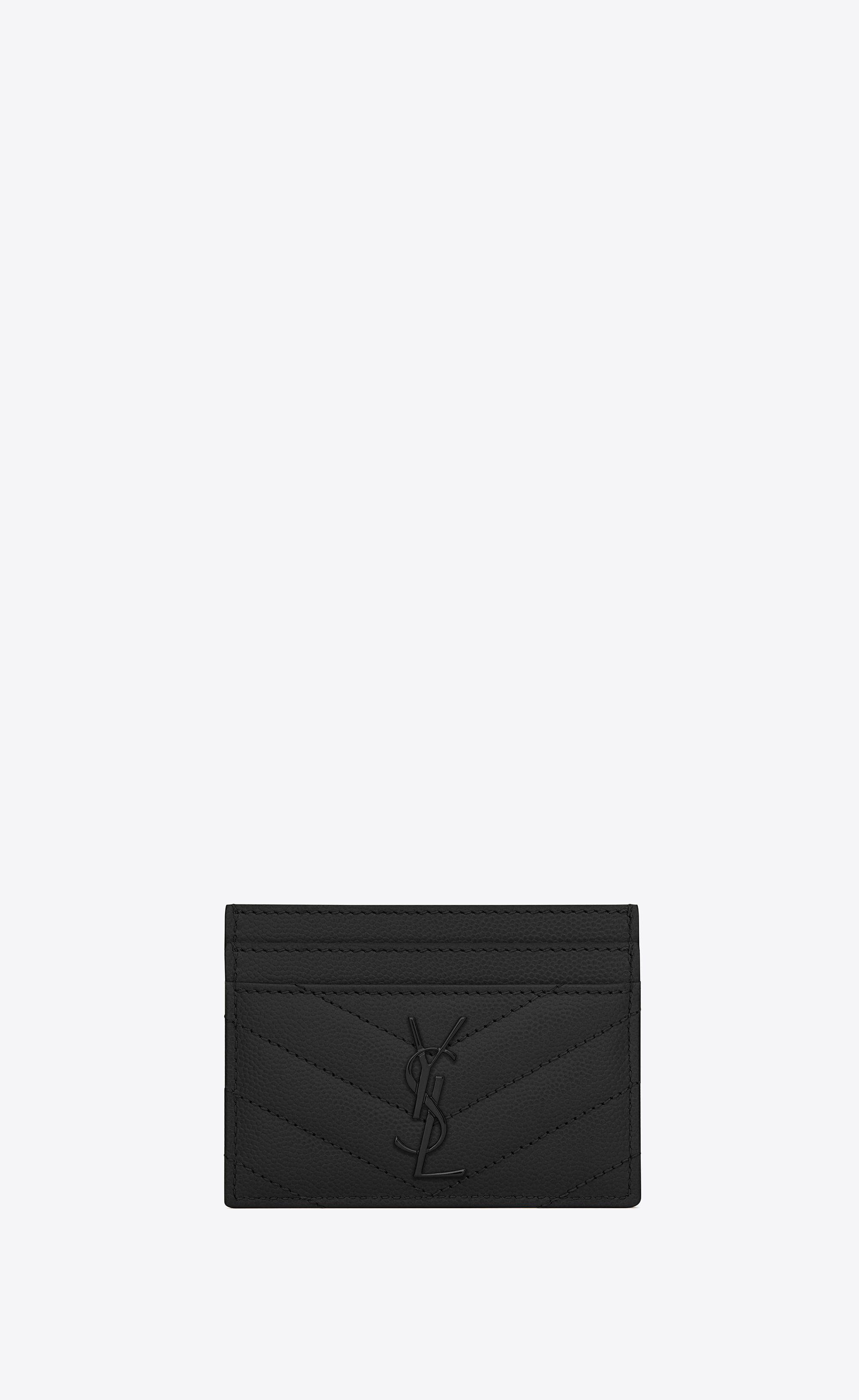 8af4de4e8ee Saint Laurent MONOGRAM CREDIT CARD CASE IN BLACK GRAIN DE POUDRE TEXTURED  MATELASSÉ LEATHER