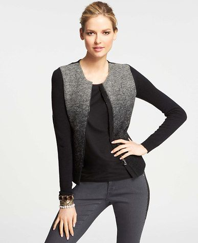 Ombre Merino Wool Blend Sweater Jacket