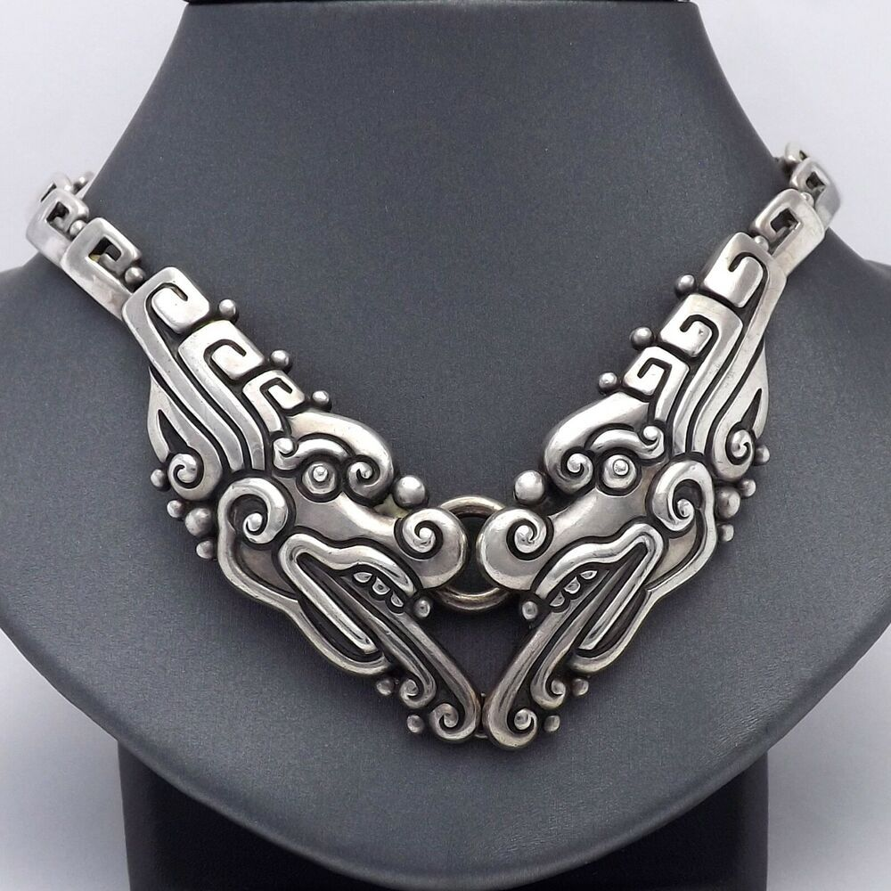 Margot De Taxco Chinese Double Dragon Mexican Sterling Silver Necklace Vintage Marg Silver Toggle Bracelet Turquoise Sterling Silver Sterling Silver Necklaces
