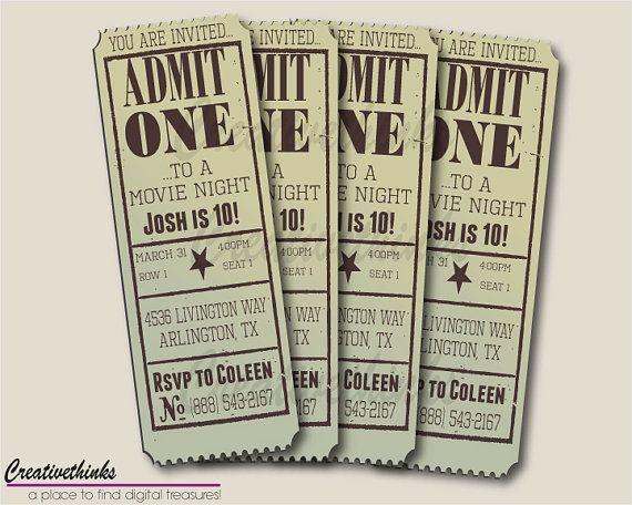 DIY Customizable\/Printable Vintage Movie Ticket Invitation - movie ticket invitations printable free