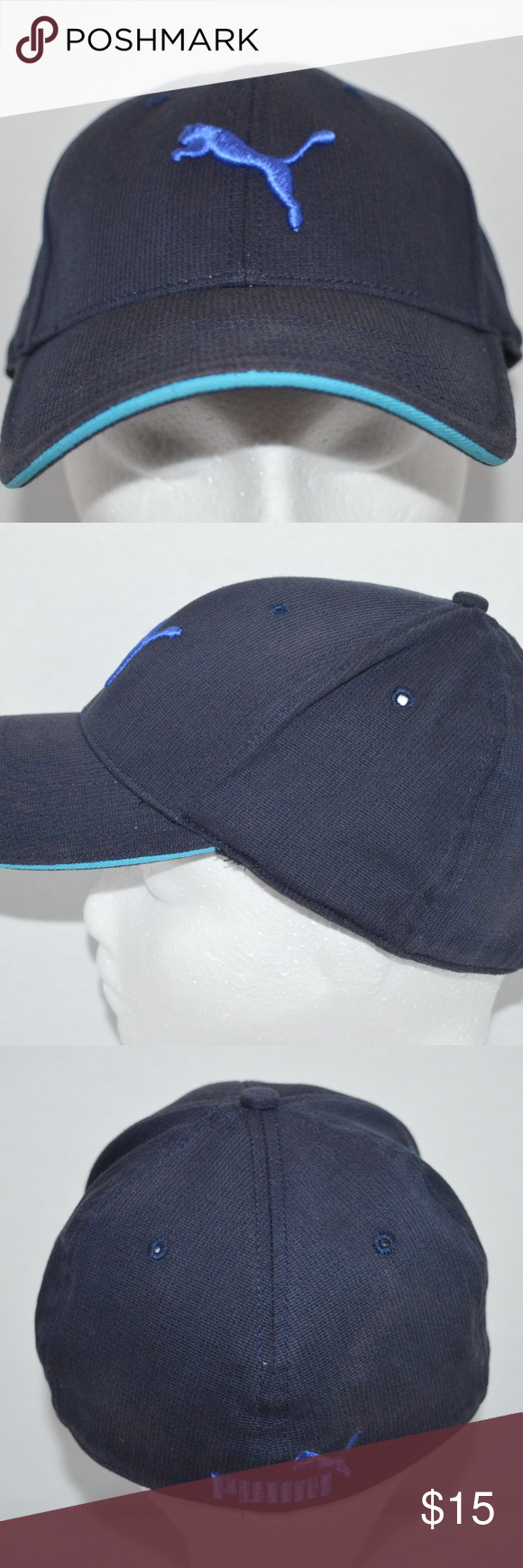 631e62ad571 Puma Navy Fitted L XL Unisex Baseball Golf Hat Raised Embroidery on front  and back